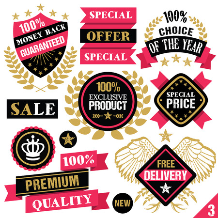Premium quality stickers badges labels and ribbons. Set 3 Vector