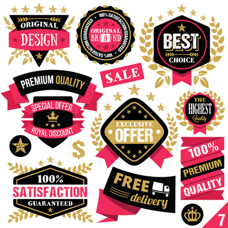 Premium quality stickers badges labels and ribbons. Set 7 Vector