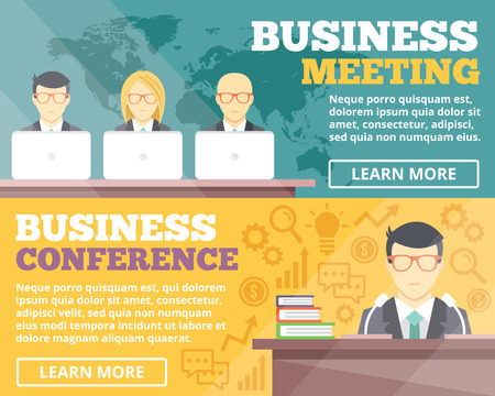 staff training: Business meeting and business conference flat illustration concepts set Illustration