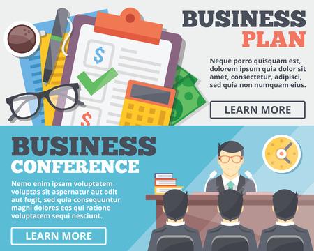 internet marketing: Business plan and business conference flat illustration concepts set Illustration