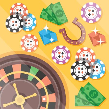 Casino roulette gambling flat illustration concepts set Vector