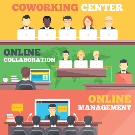 teamwork business: Coworking center online collaboration online management flat illustration concepts set Illustration
