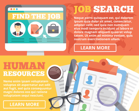 internet search: Job search and human resources flat illustration concepts set