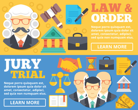 investigating: Law order trial by jury flat illustration concepts set