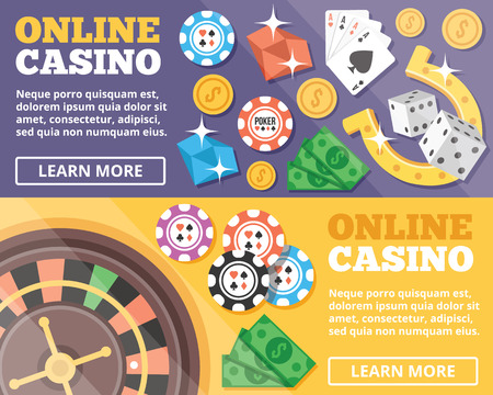 roulette online: Online casino flat illustration concepts set