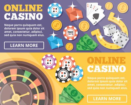 gambling: Online casino flat illustration concepts set