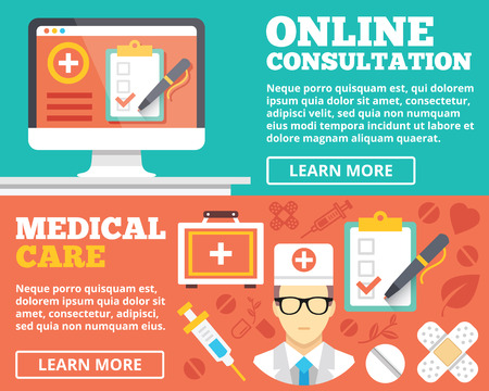 online form: Online consultation and medical care flat illustration concepts set
