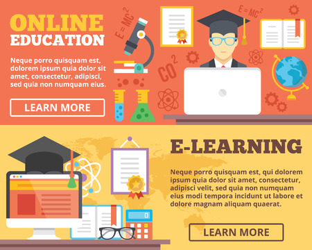 learning: Online education elearning flat illustration concepts set