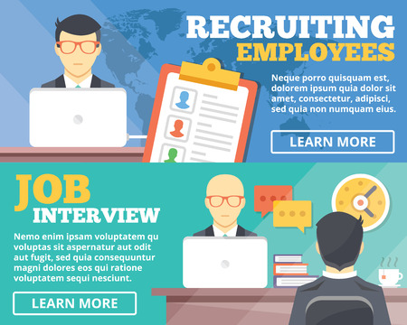 work on computer: Recruiting employees job interview flat illustration concepts set