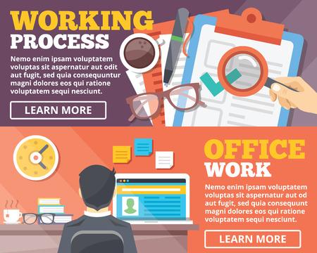 papeles oficina: Trabajando de trabajo de oficina proceso de ilustraci�n plana conceptos establecidos