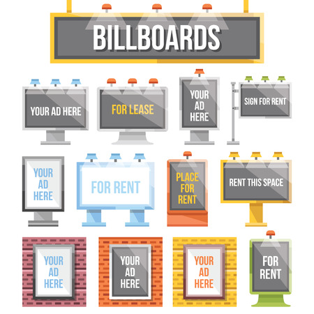 Trendy flat billboards outdoor advertising set