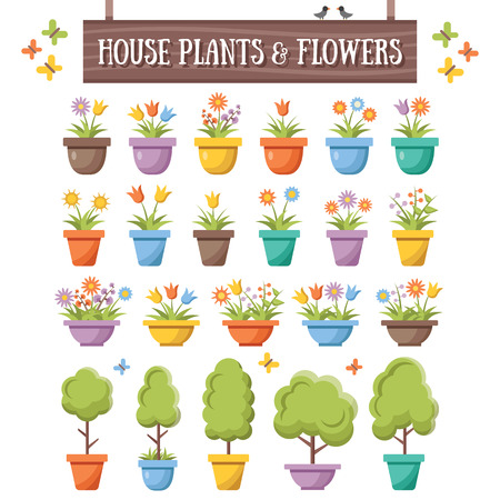 Moda planas plantas casa árboles y las flores fijados. Hermosas plantas y flores en macetas de colores Ilustración de vector