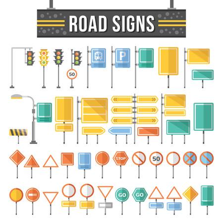 route: Appartement panneaux routiers fixés. Trafic signe éléments graphiques.
