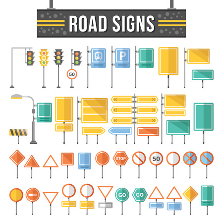 road: Flat road signs set. Traffic signs graphic elements.