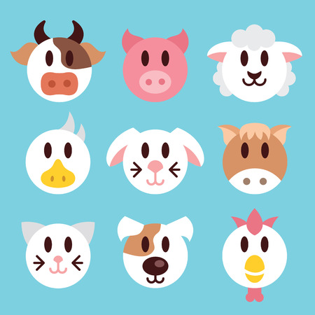 horse cock: Farm animals faces icons set. Trendy domestic animals heads