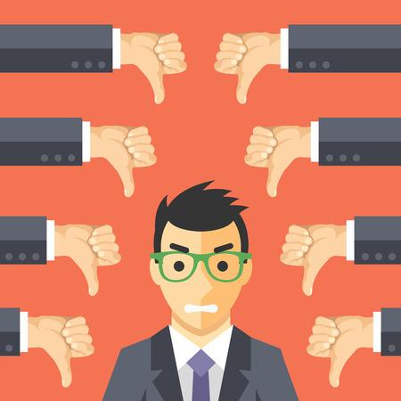 jefe enojado: Hombre de negocios enojado y muchas manos con los pulgares hacia abajo