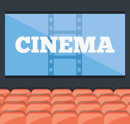 Cinema concept. Red cinema or theater seats rows and giant blue screen with a title Vector