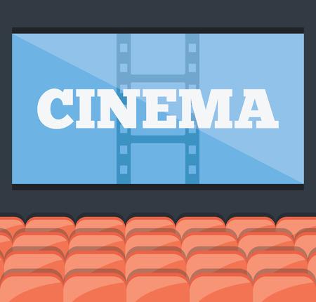 teatro: Concepto de cine. Rojo asientos del cine o de teatro filas y pantalla gigante azul con un título Vectores