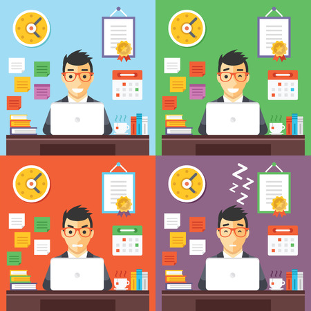 hard day at the office: Businessman at work concept illustrations set