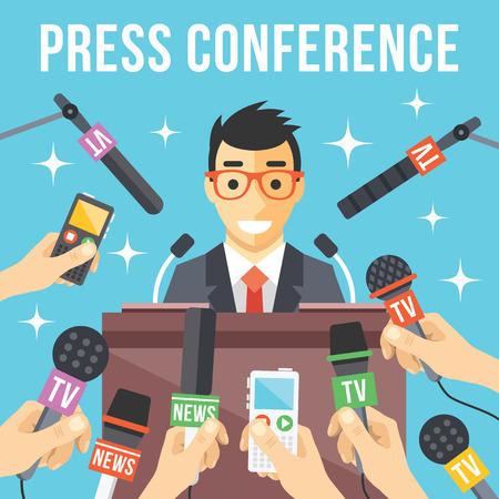 reportero: Conferencia de prensa. Informe Vivo concepto de noticias en vivo
