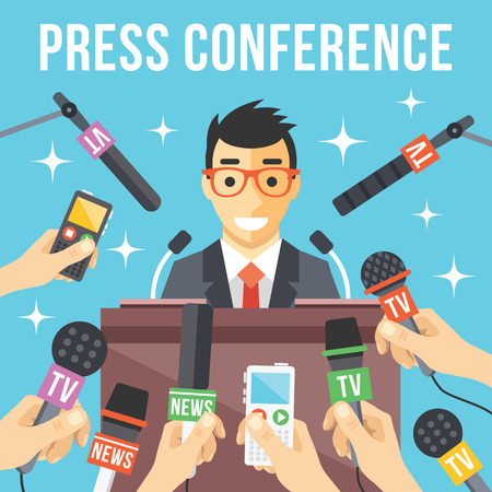 conference speaker: Press conference. Live report live news concept Illustration
