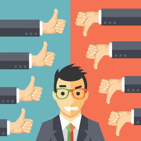 evaluacion: Hombre de negocios enojado feliz. Hombre en juego con diferentes expresiones de la cara la felicidad y la ira