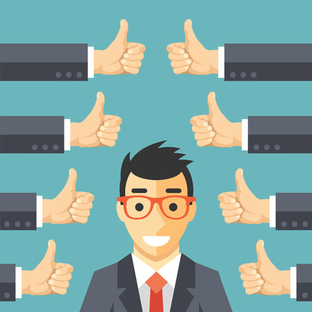 reviewing: Happy businessman and many hands with thumbs up. Likes and positive feedback concept