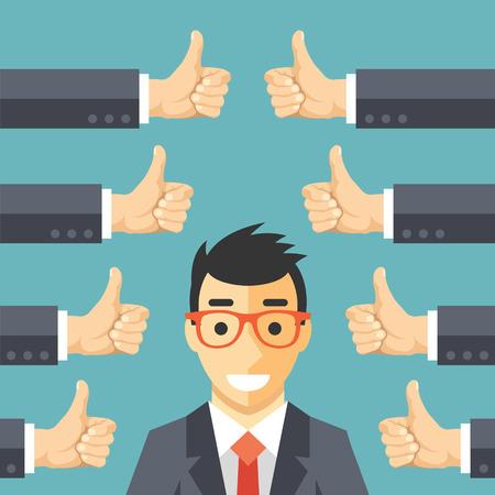 lider: Hombre de negocios feliz y muchas manos con pulgares arriba. Gustos y concepto de retroalimentación positiva