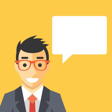 dialogo: Hombre de negocios y globo de discurso. Hombre hermoso en juego y la caja de texto en blanco alrededor
