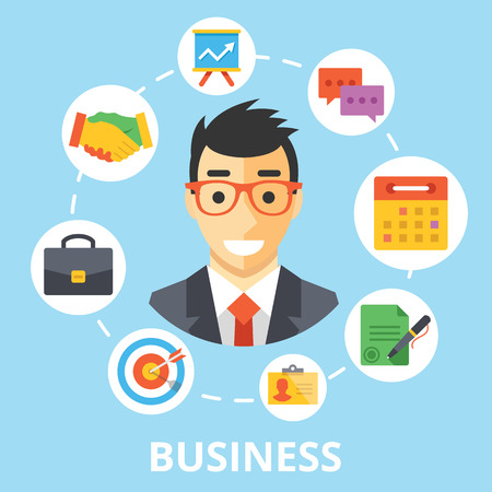 Business concept illustration. Handsome businessman character with trendy flat design icons set Vector