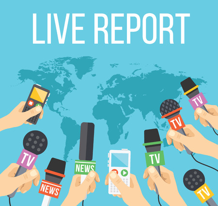 Live report concept. Many journalists hands with microphones and tape recorders