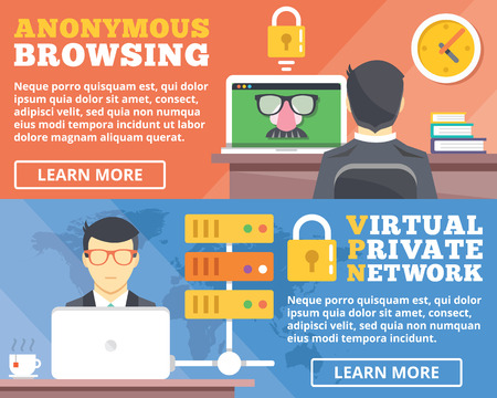 Anonymous browsing virtual private network vpn flat illustration concepts set