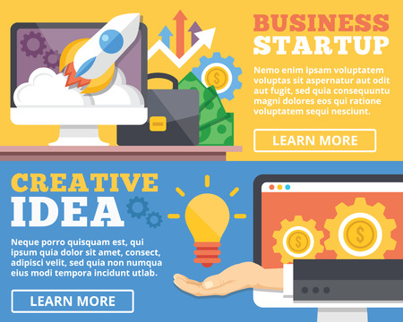 internet marketing: Business startup creative idea flat illustration concepts set