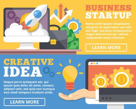 web marketing: Business startup creative idea flat illustration concepts set