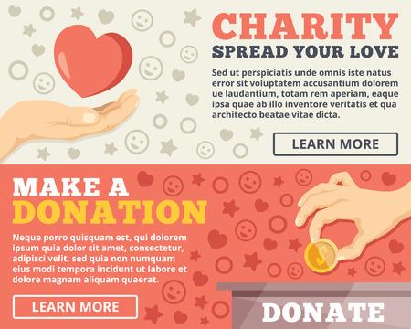 Charity donation flat illustration concepts set  イラスト・ベクター素材