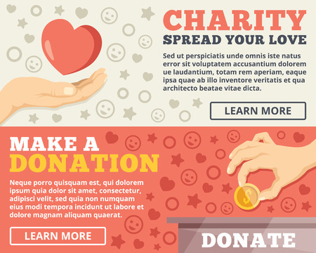 Charity donation flat illustration concepts set Vectores