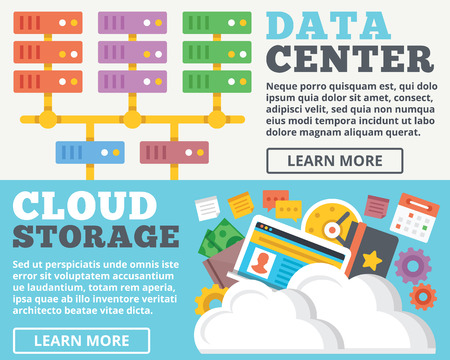 privacidad: Centro de datos de almacenamiento de nube ilustración plana conceptos establecidos Vectores