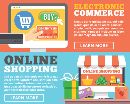 Ecommerce online shopping flat illustration concepts set