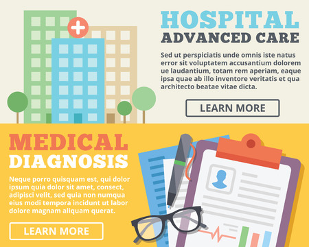 clinical research: Advanced care hospital and medical diagnosis flat illustration concepts set