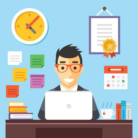 oficina: Hombre de negocios feliz en el trabajo. Conceptos de diseño Flat Vectores