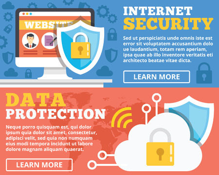 internet symbol: Internet security data protection flat illustration concepts set