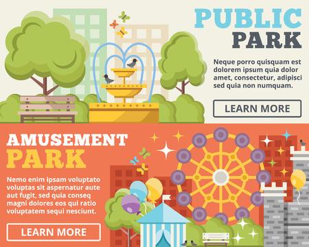 ni�os con pancarta: Parque p�blico del parque de atracciones ilustraci�n plana conceptos establecidos