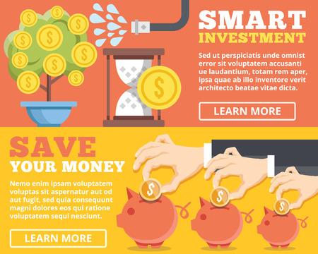banco dinero: Inversión inteligente ahorrar su dinero plana ilustración conceptos establecidos Vectores