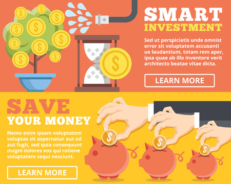 bank money: Smart investment save your money flat illustration concepts set
