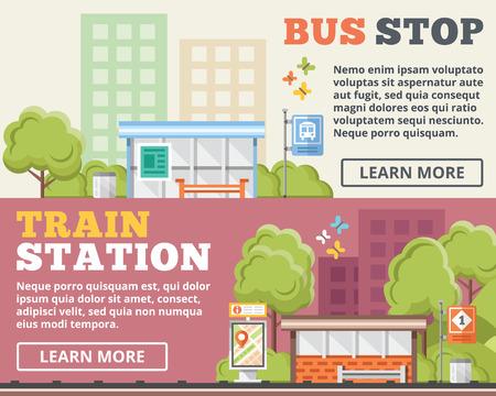 servicios publicos: Parada de autobús de la estación de tren ilustración plana conceptos establecidos Vectores