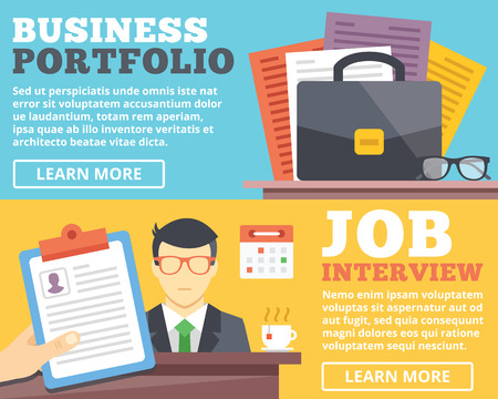 recruitment icon: Business portfolio job interview flat illustration concepts set