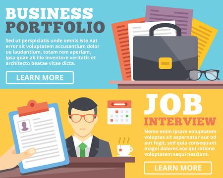 entrevista de trabajo: Cartera de negocios para entrevistas de trabajo ilustración plana conceptos establecidos