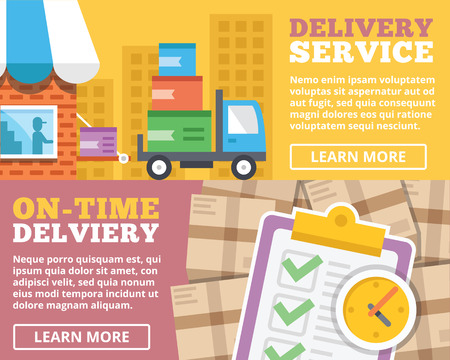 Delivery service ontime delivery flat illustration concepts set