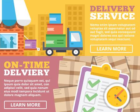 Delivery service ontime delivery flat illustration concepts set