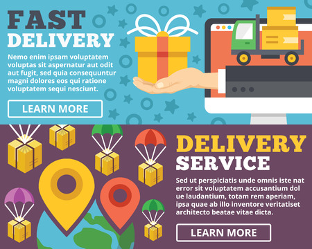 delivery package: Fast delivery delivery service flat illustration concepts set